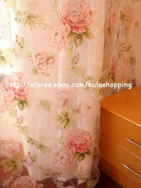 Elegant Country Style Pink Flower Sheer Voile Curtain 2 PCS Panel Drape