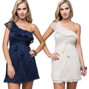 Womens one shoulder wedding guest lace navy or beige for Beige dress for wedding guest