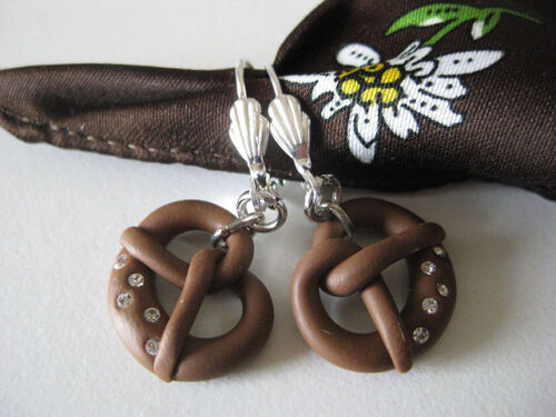 German Dirndl earrings handmade pretzel brezel Swarovski crystals Oktoberfest