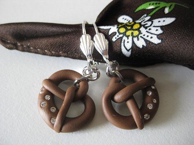 German Dirndl earrings handmade pretzel brezel crystals Oktoberfest