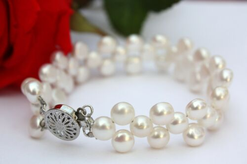 B0050 echte Süßwasser Perlen Schmuck Armschmuck Armbänder Brautschmuck Collier