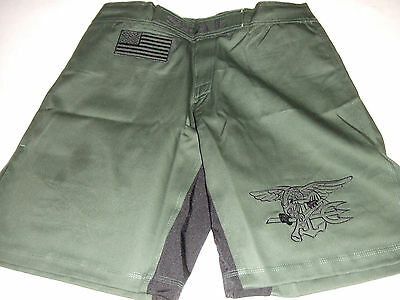 US NAVY SEAL SEALS O/S GREEN COMBATANT MMA PT S-T-COMP BOARD  FIGHT SHORTS S-3XL
