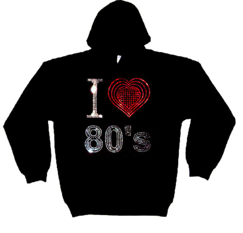 toute dimension I love eighties 80s épais Rhinestud sweat à capuche hoodies