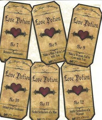 12 Vintage look LABELS~Halloween Apothecary~primitive labels ~Love Potion