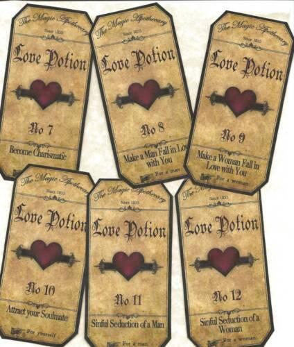 12 Vintage look LABELS~Halloween Apothecary~primitive labels ~Love Potion