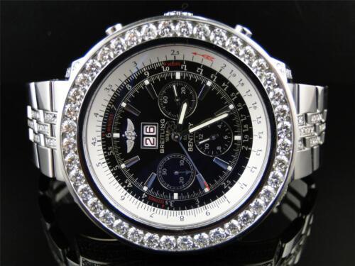 Mens Breitling Bentley Motors 6.75 MM 50 MM Genuine Diamond Watch 28 Ct