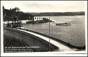 Saaletalsperre-1938-mit-Stempel-Schleiz-Schiff-Boot-und-Partie-an-der-Sperrmauer