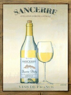 Sancerre Metal Sign on Rustic Barn Wood Frame, retro home kitchen, French wine