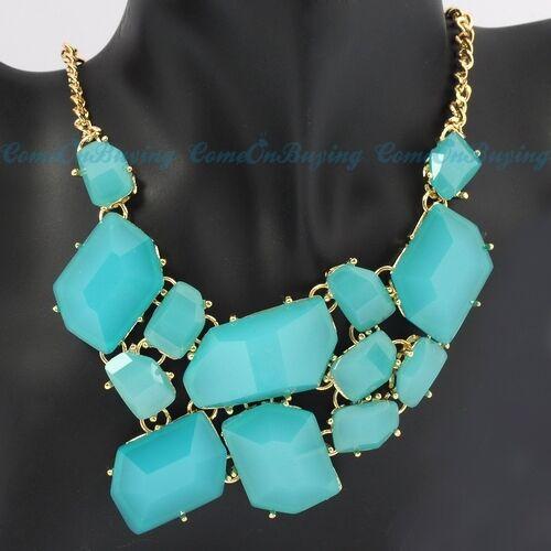 8 Colors Fashion Golden Chain Irregular Resin Beads Pendant Adjustable Necklace