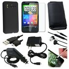 8 Accessory Bundle Hard Case Charger For HTC Inspire 4G