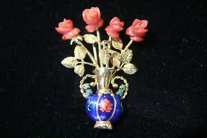Exquisite-Vintage-18k-Gold-ITALY-Carved-Coral-Rose-Enamel-Turquoise-Brooch