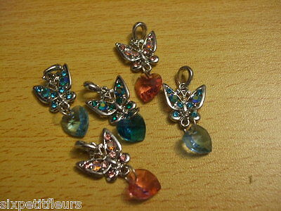 Sparkly crystal butterfly & heart drop pendants charms x5 30mm rhinestone C53 UK