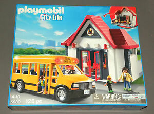 Playmobil-City-Life-5989-Construction-Toy-Set-School-Bus-amp-School-Classroom-NEW