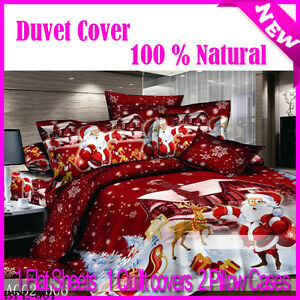 Gentle-Santa-Claus-Duvet-Quilt-Comforter-Cover-set-Double-Size-New-100-Cotton