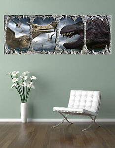 DINOSAURS-T-REX-V-PTERODACTYL-GIANT-WINDOW-VIEW-PRINTED-POSTER
