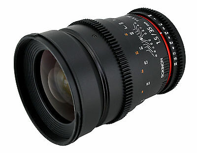 Rokinon 35mm T1.5 Cine Wide Angle Lens  w/ De-clicked Aperture For Nikon