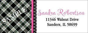 BLACK PLAID BACKGROUND & PINK TRIM   #122 LASER RETURN ADDRESS LABELS
