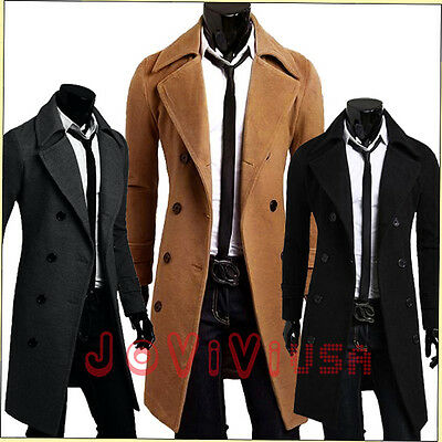 Mens Trench Coat Winter Warm Long Jackets Outwear Double Breasted Overcoat S-XXL