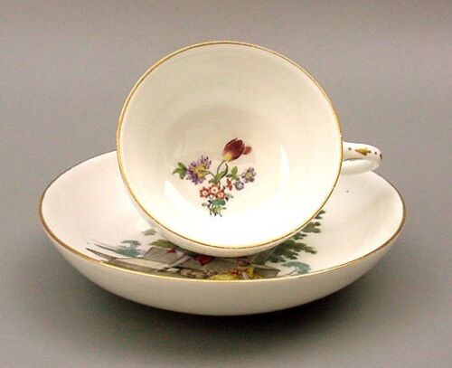 EARLY-18thC-MEISSEN-HP-CUP-SAUCER-c-1750