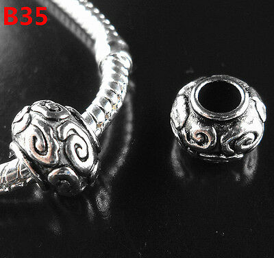 NEW 10pcs Tibetan Silver Charms Spacer Beads Fit European Bracelet B35