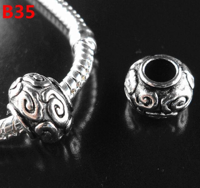 NEW 30pcs Tibetan Silver Charms Spacer Beads Fit European Bracelet