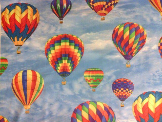 HOT AIR BALLOON RAINBOW II COTTON FABRIC FQ 13 Inch