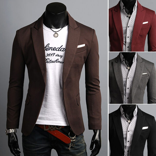7a20cc44f536 KOREAN Mens Slim Fit Premium Button Jacket Pocket Point Blazer HFV04 - XS S