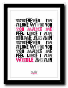 THE CURE - Lovesong - song lyric poster art typography ...