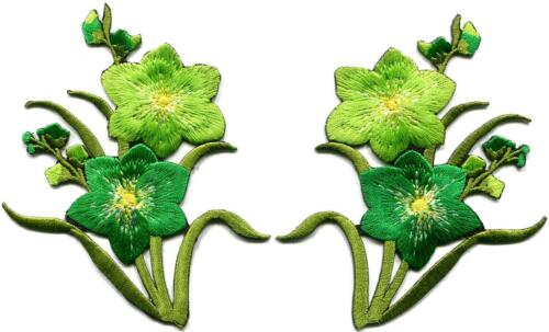 Green lilies pair flowers floral bouquet boho applique iron-on patch new S-732