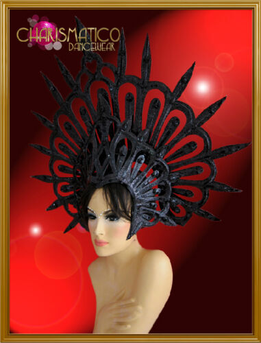 CHARISMATICO Evil halo styled glitter covered black spiky Gothic diva's headdres