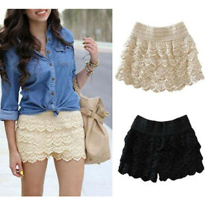 New Hot Womens Korean Sweet Cute Crochet Tiered Lace Shorts
