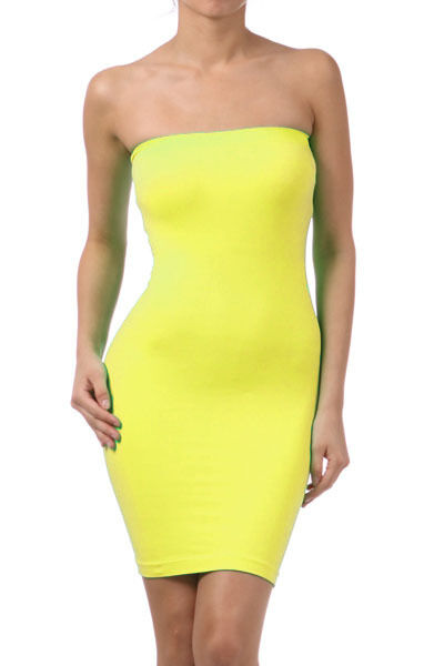 Tube Strapless Stretch Tight Fitted Seamless One Size Body-Con Mini Sexy Dress