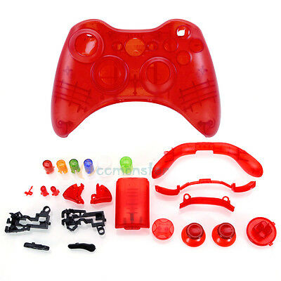 Wireless Controller Case Shell Cover + Buttons for XBox 360 Transparent Red