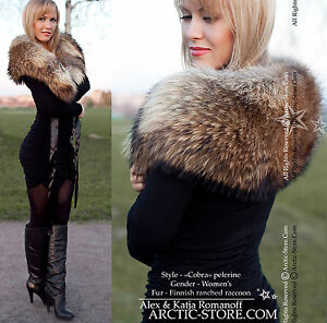 WIDE-full-fur-PELERINE-collar-boa-cape-wrap-Ranched-Finn-Russian-Raccoon-women