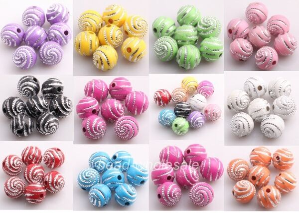 Wholesale 200pcs Acrylic Ball Spacer Loose Spiral Beads 10mm Findings