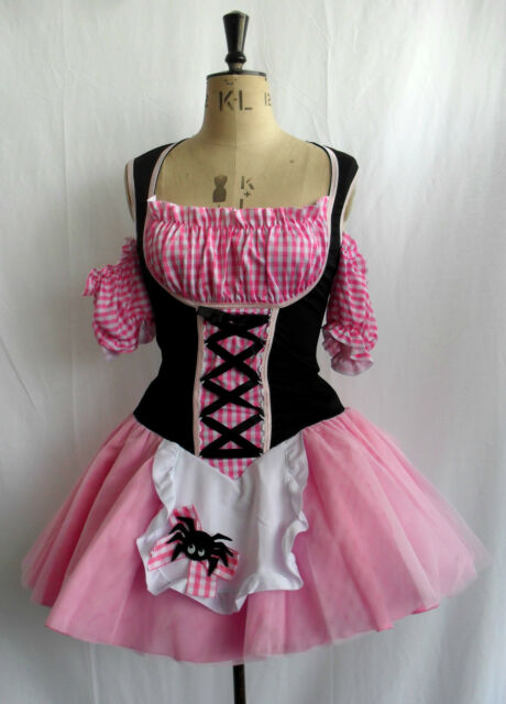 PINK GINGHAM LITTLE MISS MUFFET GENUINE LEG AVENUE COSTUME DRESS UK 8 10 12 WOW