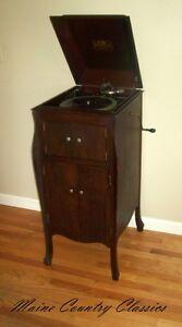 Antique-1919-VICTOR-TALKING-MACHINE-VV-XA-VICTROLA-PHONOGRAPH-Mahogany-Case-VG