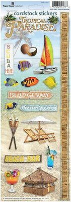 PAPER HOUSE TROPICAL PARADISE BEACH TRAVEL VACATION CARDSTOCK SCRAPBOOK STICKERS