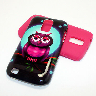 2 in 1 Hybrid Case Full Moon Owl Samsung Galaxy S II T-Mobile T989 Pink Silicone
