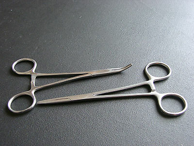 MOSQUITO FORCEPS PIERCING TOOL STRAIGHT CURVED SET NEW