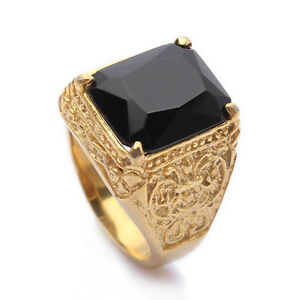 Black-Onyx-Stainless-Steel-Mens-Golden-Ring-Size-8-9-10-11-R266