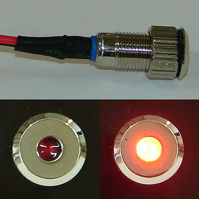 Silver Flush Mount Red LED Indicator or Warning Light for Boats