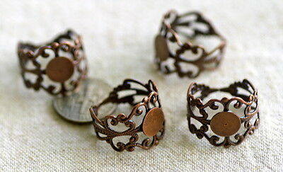 48 Wholesale Antique Copper Plated Filigree Adjustable Ring Base Blank 18mm m49d