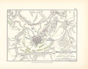 MAP/BATTLE PLAN ~ BATTLE OF MALO-JAROSLAWITZ 24th OCTOBER 1812 ~ FRENCH RUSSIANS