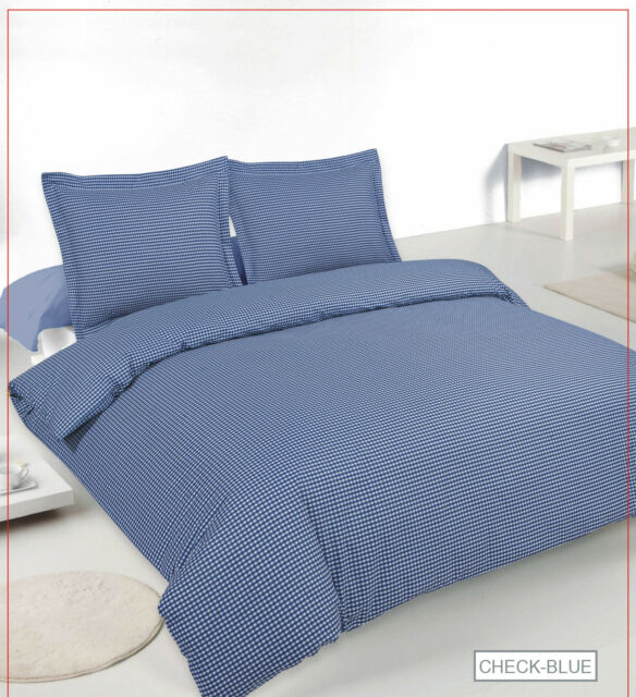 Luxury 180 Thread Count Gingham Check Bed Set - Duvet Cover+ Oxford Pillowcases