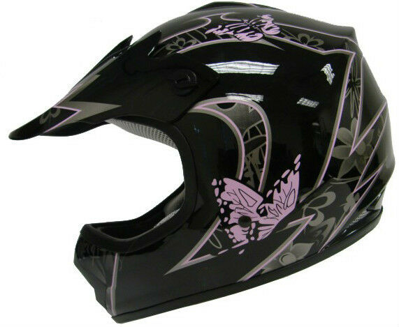 Youth Black Pink Butterfly Dirtbike Off-Road ATV Motocross Helmet MX~S,M,L