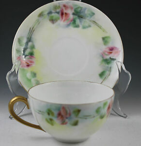 Porcelain Hand Painted China German Cup and Saucer - Roses