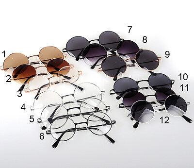 Vintage Clear Dark Lens Shades Sunnies Glasses 60's Retro Round Frame Sunglasses
