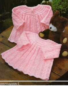 Free Baby Knitting Patterns Dk : Knitting Pattern- Baby Girl, gorgeous dress and Jacket pattern-16-20