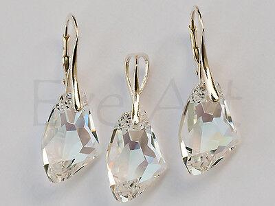 GALACTIC 925 STERLING SILVER GENUINE SWAROVSKI CRYSTAL SET earrings + pendant